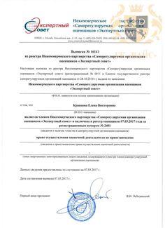 Выписка из реестра Некоммерческого партнерства СРО «Экспертный совет» Кравцова Е.В.